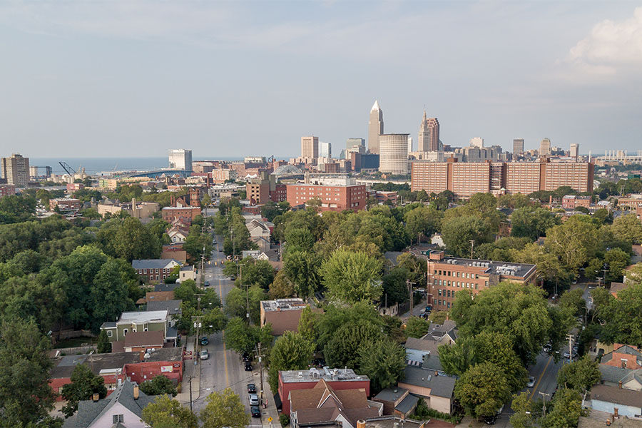 Westerville OH - Aerial View Of Downtown Westerville Ohio